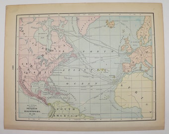 1900 Atlantic Ocean Map of Voyages and Discoveries, Explorer Routes, Vintage Map, Historical Map, History Buff Gift, World Map