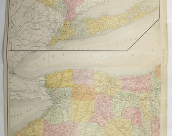1903 Western New York Map, Long Island Vicinity NYC Map, NY Railroad Map, ny Birthday Gift for Him, ny Gift for Friend, Large Vintage NY Map