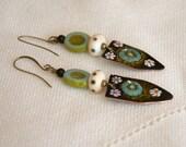 Crest Earrings, Copper Enamel Earrings, Floral Earrings, Black Earrings, Artisan Enamel, Long Earrings, Boho Earrings, Daisy Earrings