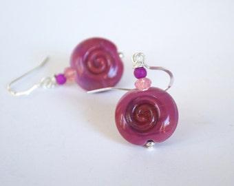 Raspberry Pink Earrings, Spiral Earrings, Lampwork Glass Earrings, Bright Pink Earrings, Beaded Earrings