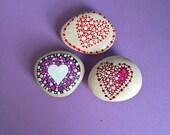 Set of 3 Dotty Heart Rock Magnets with BONUS
