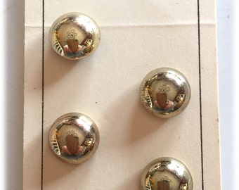 4 Vintage Buttons, Scovill Dritz Buttons, Gold Buttons, Domed Buttons,  New on Cards 1960s Japan