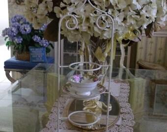 Vintage Cottage CHic Cup Saucer Display Stand Fleur de lis Tea Party