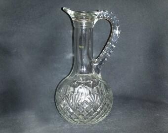 Vintage Avon Pressed Glass Cruet with Pineapple & Fan Design / MCM Avon Pattern Glass Long Necked Cruet with Handle / Fancy Cut Glass Cruet