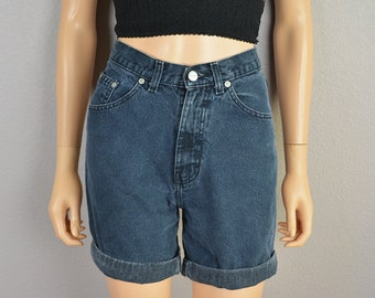 80s Denim Shorts Extra Small High Waisted Shorts Gray Shorts Cuffed Shorts 80s Clothing Epsteam