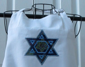 On Sale White Apron with Appliqued Star of David with Stained Glass Star of David fabric  Apron was Purchased