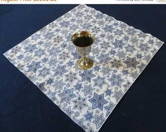 """On Sale Set of 4 Judaica Napkins  White cotton print with blue and silver stars of David 18"""" Square"""