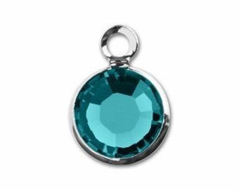 6mm Blue Zircon Rhodium Plated  Swarovski Crystal Channel Charm - Use for both  March/December Birthstone 10 pcs lowest price