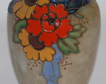 Royal Doulton English Pottery Colorful Floral Vase (Artist Signed)