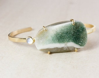 ON SALE Gold Green Agate Druzy Cuff – Rainbow Moonstone - One of a Kind
