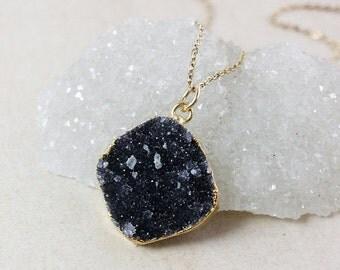 ON SALE Black Druzy Pendant Necklace – Choose Your Druzy – Organic Round/Oval Cut