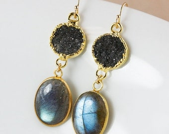 ON SALE Druzy and Blue Labradorite Earrings – Dangle – 14K Gold Fill