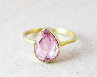 25% OFF Gold Pink Quartz Ring - Princess Pink Quartz - Teardrop Stacking Ring