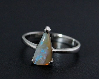 40% OFF Earthy Opal Ring - Freeform Triangle Cut - Sterling Silver