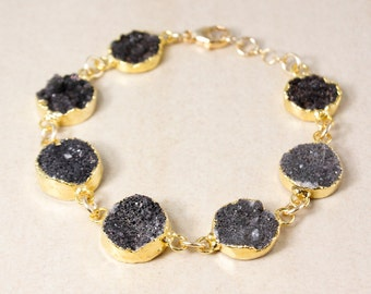 Gold Black Druzy Bracelet - Multi-Gemstone Bracelet - Fall Jewelry