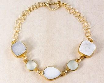 Aqua Chalcedony Bracelet – White/Soft Grey Druzy – 14K Gold Filled