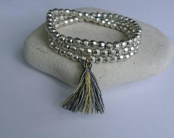 Justhipstuff Pewter Beaded Stretchy Tassel Bracelet