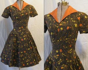 Vtg 1950s Autumn florals Novelty print Cotton day dress Full skirt Drop waist Small XS
