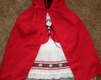 Girls Boutique Oktoberfest Inspired Dirndl Party Dress Vest Apron Cape Outfit Little Red Riding Hood Costume Set Size 4