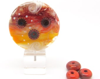 Silver Glass Lampwork Lentil Bead, SRA Lampwork Focal Bead, Glass Focal Bead, Implosion Beads, UK, SRA, FHFteam