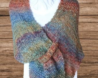 Easy Knitting Pattern for Shawl, Knit Shawl Pattern, Prayer Shawl Patterns, Knit Wrap with Tab Closure, Homespun Yarn Patterns