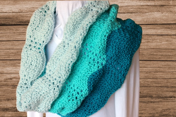 Knit Cowl Pattern, Gradient Colors Knit Scarf Pattern, Knitted Lace Ripple In...
