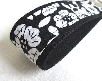 Wristlet Key Fob - Black and White Flowers Fabric Keychain - READY TO SHIP