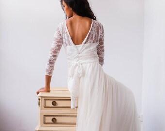 Backless bridal gown, bridal gown, backless bridal dress, backless wedding dress, backless gown, backless lace dress, backless lace wedding