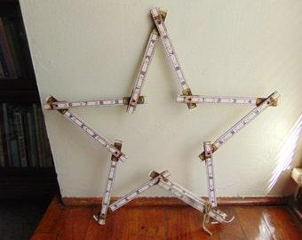 Vintage Hardware Carpenter Folding Ruler Chippy Shabby White Primitive Star