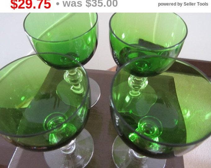 Set Vintage Aperitif, Cordial Emerald, Forest Green Stemware, Green Glass Barware, Dessert Mid Century, Dessert Glassware, Glassware Barware
