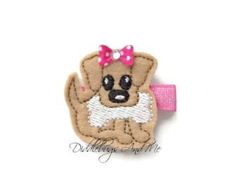 Puppy With Bone Hair Clip, Tan Dog Hair Clip, Felt Hair Clips, Girls Puppy Hair Clip, Toddler Hair Clips, Dog Clips, Girls Hair Accessories