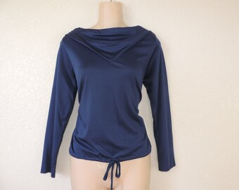 navy cowl neck tunic blouse 70s drape neck disco top medium