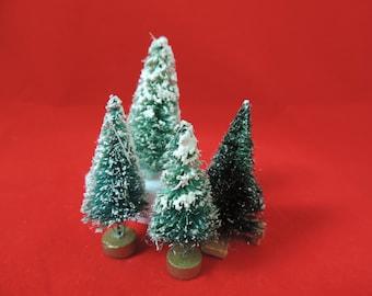 vintage bottle brush christmas tree collection miniature Christmas village flocked mini trees