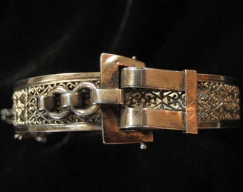 Edwardian Sterling Filigree Buckle Front Bracelet