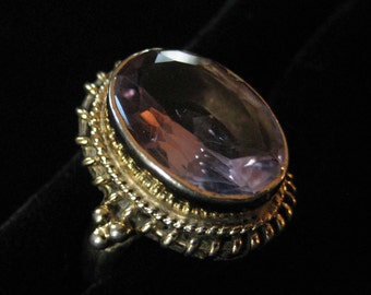 Sterling Gold Vermeil Amethyst Ring size 7.5