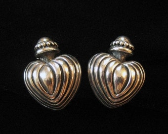 Solid Sterling Silver Crowned Heart Earrings, Clip Ons