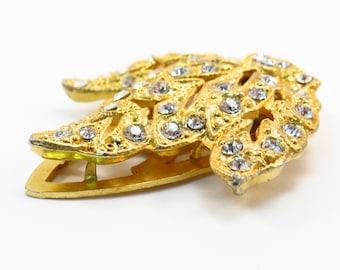 Gold Rhinestone Leaf Fur Clip Vintage 1930s Rhinestone Dress Clip or Shoe Clip