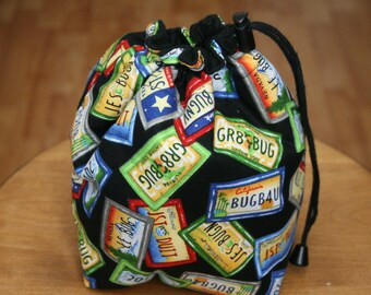 DSLR Camera, Travel COZY, Camera Accessory, Drawstring Pouch, Carry in Handbag, Carry in Luggage, License Plate Print