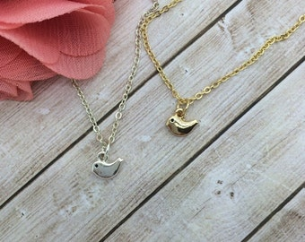 Tiny Bird Necklace - small Gold Bird or Silver bird petite charm necklace - choose carded Always believe in yourself or in a silver gift box