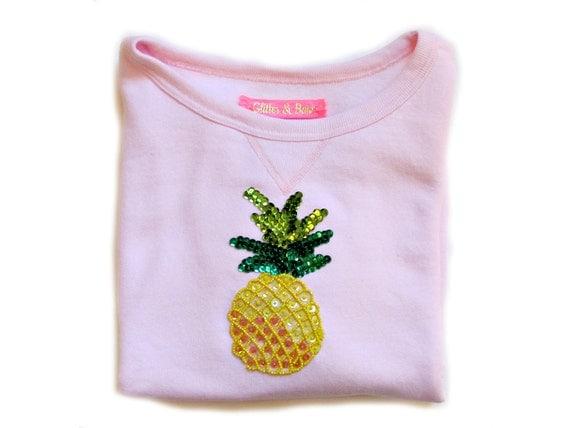 PINEAPPLE EMOJI sequined blush candy pink short sleeve comf sweatshirt