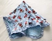 Baby Blanket Minky Monkeys and Cars Corduroy Ruffle Medium Size Blue Red White