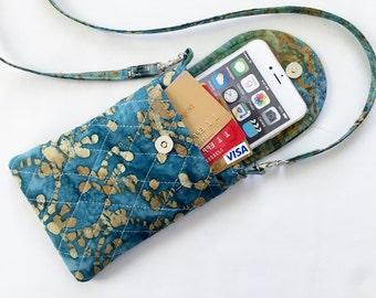 Iphone 6 Plus Case Smart Phone Gadget Case Quilted Fabric Detachable Neck Strap Batik Teal Beige