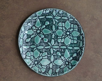 Beautiful, turquoise, ceramic, plate