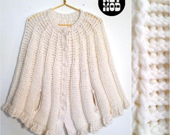 Vintage 60s Extra Thick & Warm Knit White Poncho Shawl Cape for Winter! So Cute!