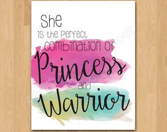 """Wall Art Print """"Princess and Warrior"""" 8x10 Printable"""