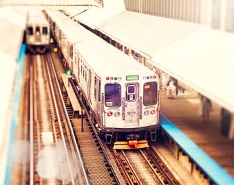 Chicago CTA Train, Green Line, Urban Wall Art Print, Chicago Decor, El Train Photography, Loop, brown, orange, teal, Harlem, Art for Walls