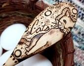 CATS Spoon, Wooden, Folk Art, Food SAFE, Hand Burned, Original, Pyrography, Wood Kitchen Spoon / Utensil, Cat, Kitty, Animal, Pet, Tribal
