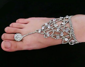Crystal Beach Barefoot Bridal Sandals Foot Toe Ring Anklet, Bracelet Jewelry,Wedding,