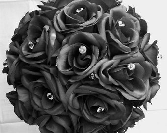 Wedding Bouquet Silk Black Roses Crystals Diamante Pins