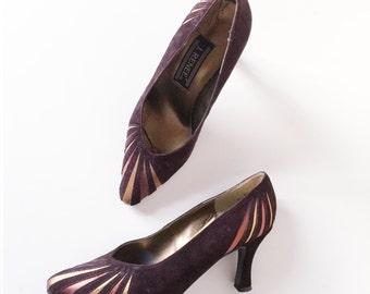 Vintage Dark Purple Rose Gold Metalic Velvet Pumps Evening Shoes   Size 6.5   1990s